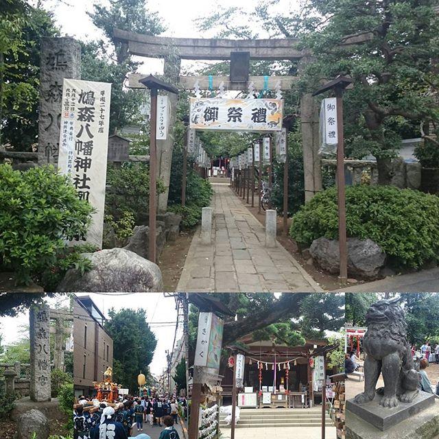 「 #鳩森八幡神社 」ですにゃ。 #勝負運 の #パワースポット みたいですね~。最近は何処の神社も #お祭り モードです。 #さむねこさんぽ #代々木