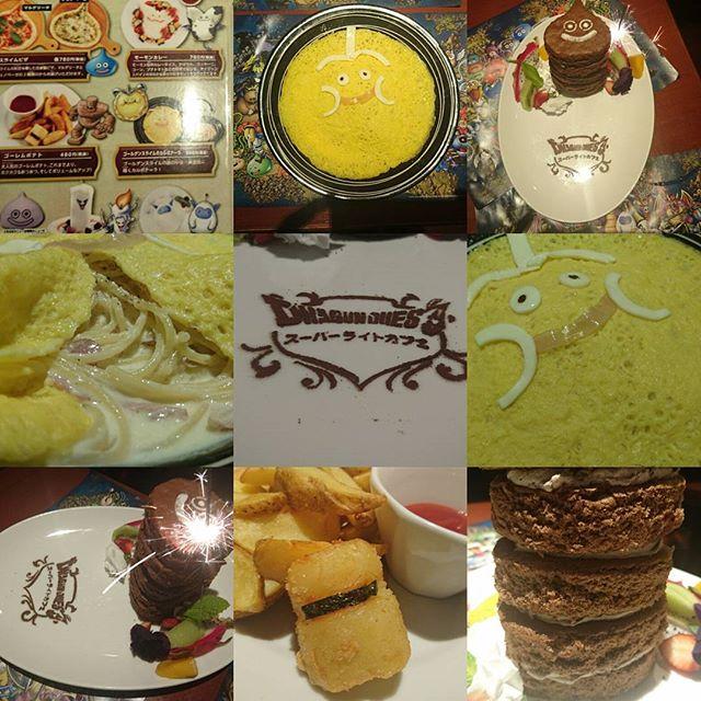 #ドラゴンクエスト #スーパーライトカフェ ゴールデンウィーク限定のスライムタワーケーキがすごい! #花火 がささってて店内注目が恥ずかしい!