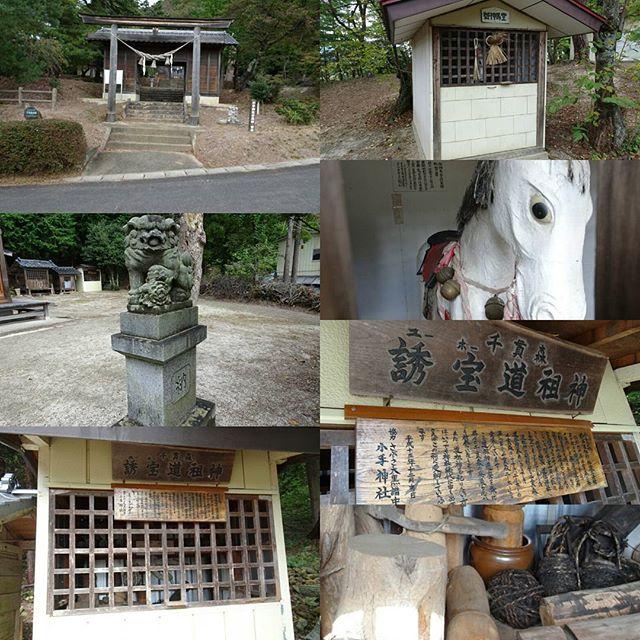 UFOふれあい館の隣にある小手神社の裏には謎がいっぱい! #誘宝道祖神 が祭られてます。チビッ子は見ちゃダメな男性の木彫りのアレ的なものがたくさん飾られてます。すでにここからアブダクションは始まったのか? #侍猫さんぽ