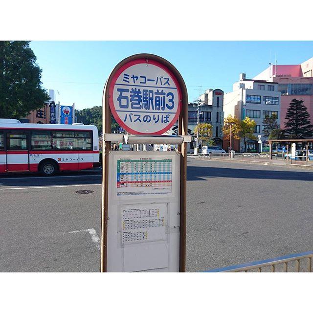 石巻駅前から8時30分発のバスに乗りますからね!平日だから学生多いね!!女子高生可愛い!元気でてきた!野郎共はどこも同じですな。…平日朝に大荷物持った旅行者は自分だけだね。猫島人気スポットかと思ってたのにね。 #侍猫さんぽ
