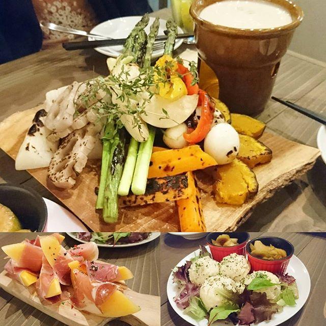 渋谷でおすすめのお店 #ism 飲み放題付きの牛タンコースは生ハムメロンから始まりました!ポテサラからバーニャカウダ!新鮮野菜が山盛りだしうまい!
