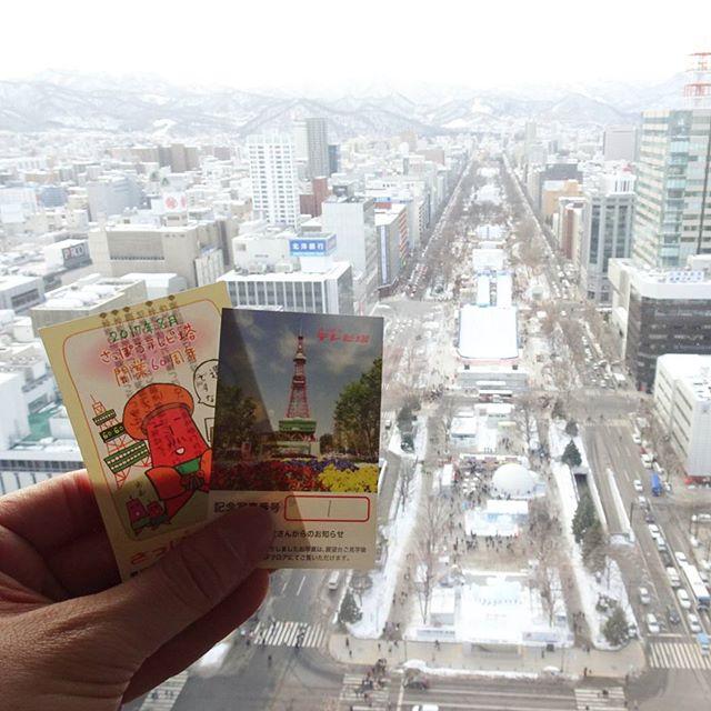 #さっぽろ雪まつり 会場の大通公園を #さっぽろテレビ塔 から撮影してみたよ。とりあえず明日いろいろ見に行きますからね。今日は研修ですな。 #幹事役で行く社員旅行は辛い編