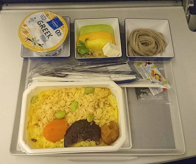 #海外旅行初心者の旅 074 朝ごはんだよ。鮭のちらし寿司的なやつだね。チラシの米がちゃんとあったかいよ。 #ana #朝食