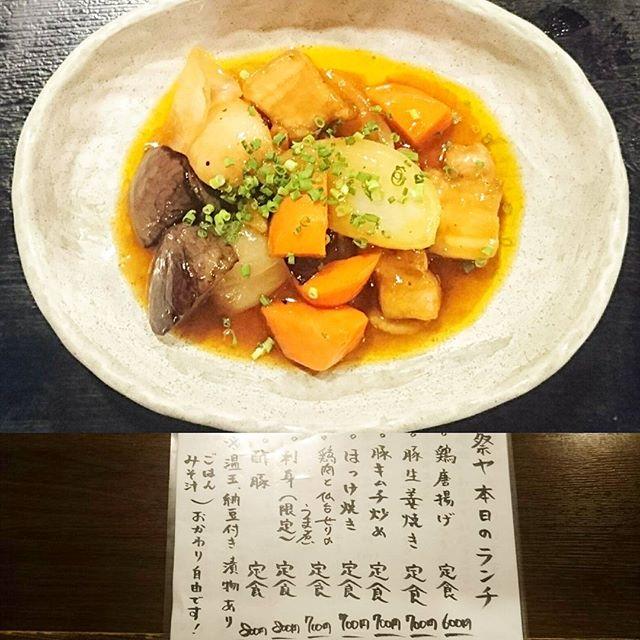 人形町駅周辺のお食事日記 #祭ヤ 酢豚定食にしてみたよ。ゴロゴロ野菜がたくさんの米に合うやつ!野菜不足な体に良いヤツだね! #lunch